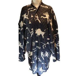 """LINDA LUNDSTROM"" Tribal Print Waterfall Sweater."